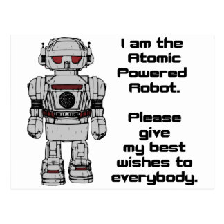 Best Wishes From Atomic Powered Toy Robot Postcard