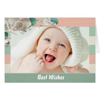 Best Wishes sea shells starfish insert baby photo Greeting Card