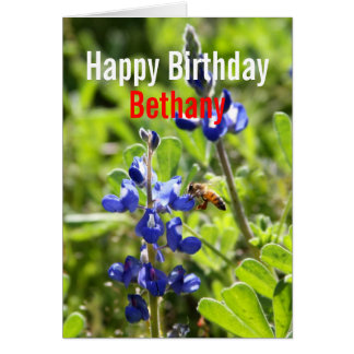 Bethany Texas Bluebonnet Happy Birthday Card