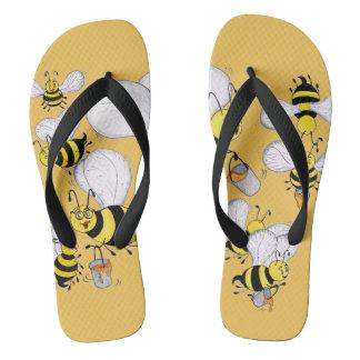 'Betty Bee' Yellow Flip Flops