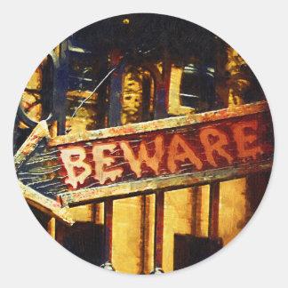 Beware Haunted House Round Sticker