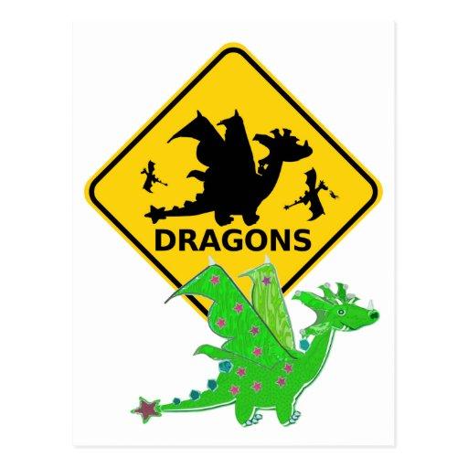 Beware of Cartoon Dragons Postcard