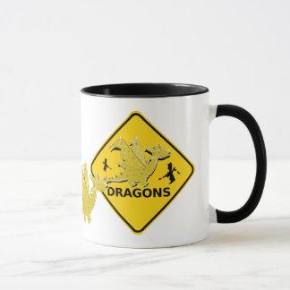 Beware of Cartoon Dragons Sign Mug