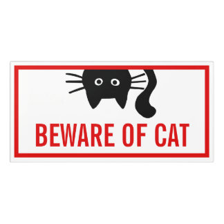 Beware of Cat - Black Cat Funny Room Sign