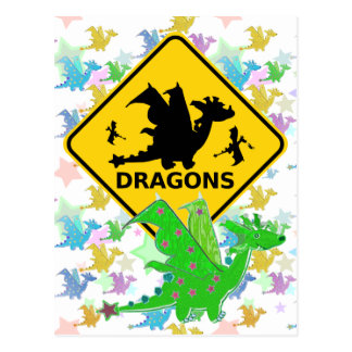 Beware of Dragons Warning Sign Cartoon Postcard