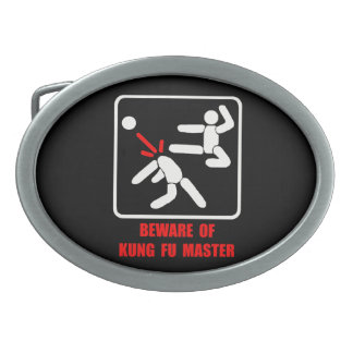 Beware of Kung Fu master Oval Belt Buckles