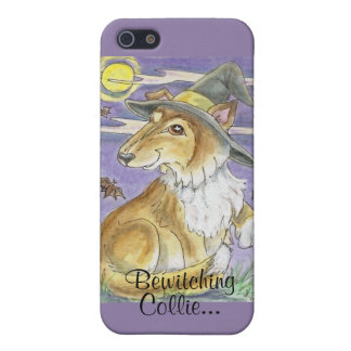 Bewitching Collie Dog Halloween Witch Art iPhone 5 Cases