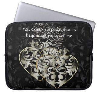 Beyond Rules Black Heart Laptop Sleeve 15 inch