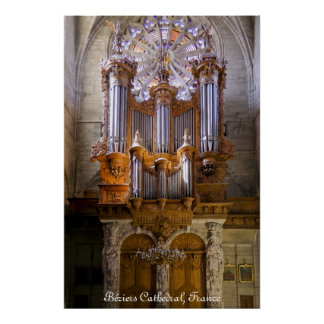 Béziers Cathedral, France, organ poster captioned