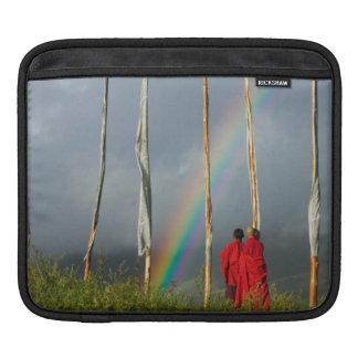 Bhutan, Gangtey village, Rainbow over two monks iPad Sleeve