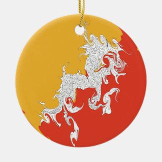 Bhutan Gnarly Flag Christmas Ornament