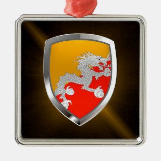 Bhutan Metallic Emblem Christmas Ornament
