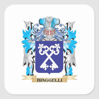 Biaggelli Coat of Arms Square Stickers