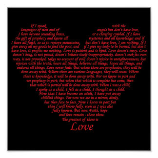 Bible Quote 1 Corinthians 13 Love Heart Art Design Poster