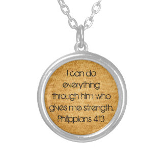 bible verse for strength Philippians 4:13 Silver Plated Necklace