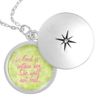 Bible Verse God is Within Her Christian Quote Locket Necklace