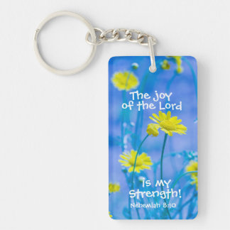 Bible Verse Nehemiah The Joy of the Lord Custom Double-Sided Rectangular Acrylic Key Ring