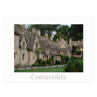 Bibury cottages with text postcard