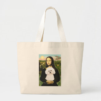 Bichon Frise 2R - Mona Lisa Large Tote Bag