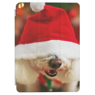 Bichon Frise puppy wearing Santa costume iPad Air Cover