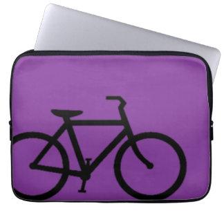 Bicycle: Black on Purple Laptop Sleeve