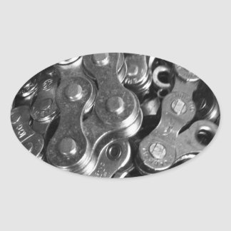 Bicycle Chain Links Oval Sticker