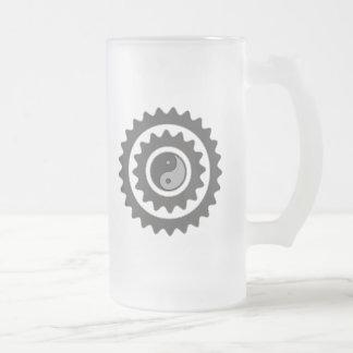 Bicycle Cycling Yin Yang Frosted Beer Mugs