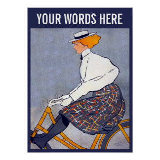 Bicycle Girl (Personalised) Vintage Poster
