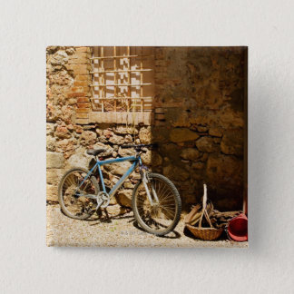 Bicycle in front of a wall, Monteriggioni, Siena 15 Cm Square Badge