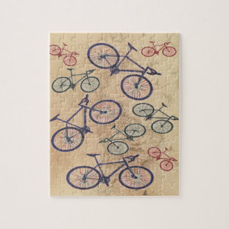 Bicycle Print On Vintage Map Jigsaw Puzzle