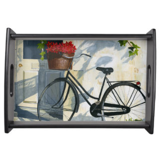 Bicycle with a Basket of Red Flowers Serving Tray