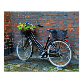 Bicycle With Flower Basket, Copenhagen, Denmark Poster