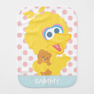 Big Bird Holding Teddy Bear | Add Your Name Burp Cloth