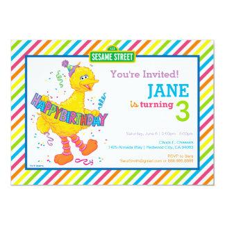 Big Bird Striped Birthday 13 Cm X 18 Cm Invitation Card