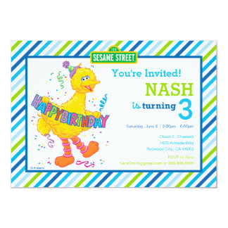 Big Bird Striped Birthday Card