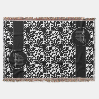 Big Bold Damask (Black) Throw Blanket