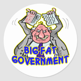 Big Fat Federal Government Ripping Up Constitution Round Sticker