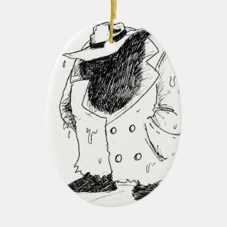 Big guy in trenchcoat ceramic oval decoration