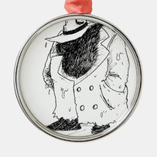 Big guy in trenchcoat Silver-Colored round decoration