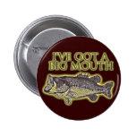 big mouth bass 6 cm round badge