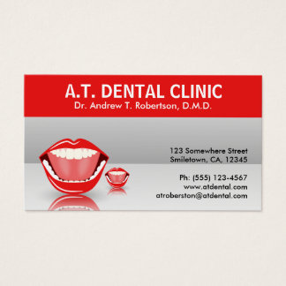 Big Mouth Gray Dental Appointment Business Cards