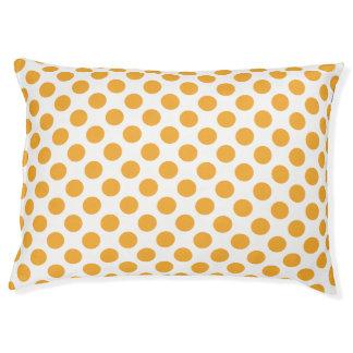 Big Orange Dots on White Dog Bed