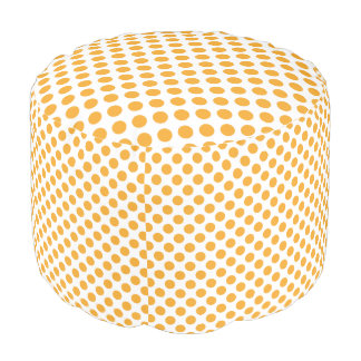 Big Orange Dots on White Round Pouffe