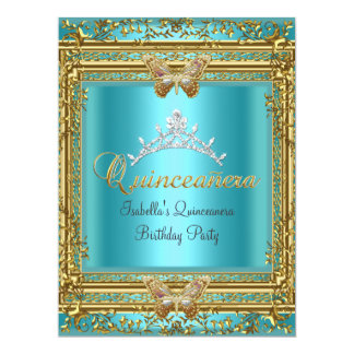 Big Quinceañera 15th Blue Gold Butterfly Card