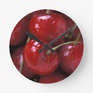 Big Red Cherries Round Clock