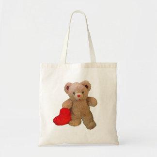 Big Red Heart Teddy Bear Budget Tote Bag