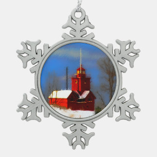 Big Red Lighthouse Painting - Original Art Snowflake Pewter Christmas Ornament