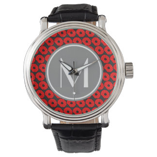 Big Red Poppies Pattern with Gray Custom Monogram Wrist Watch