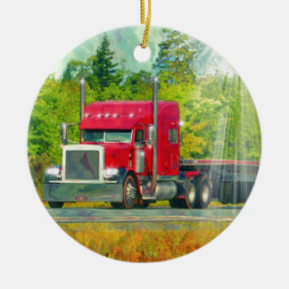 Big Rig Red Truck Heavy Transport Vehicle Christmas Ornament