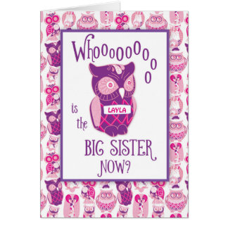 Big Sister Congratulations, Custom Name, Cute Pink Greeting Card
